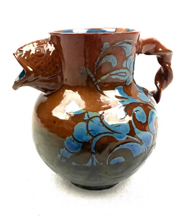 Brannam Barun Ware Jug with Fish Spout / Art Nouveau / Orange & Blue / RARE